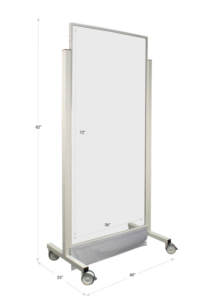 Large Window X-ray Mobile Barrier 683492 Dimensions