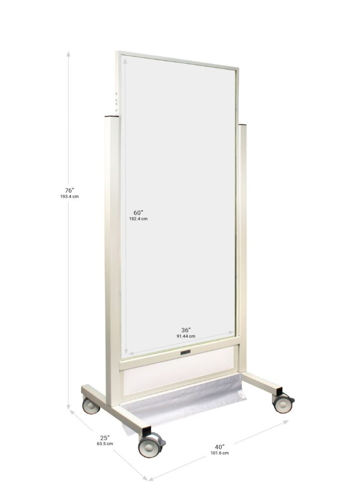 X Ray Mobile Barrier X Tall 683476 Dimensions