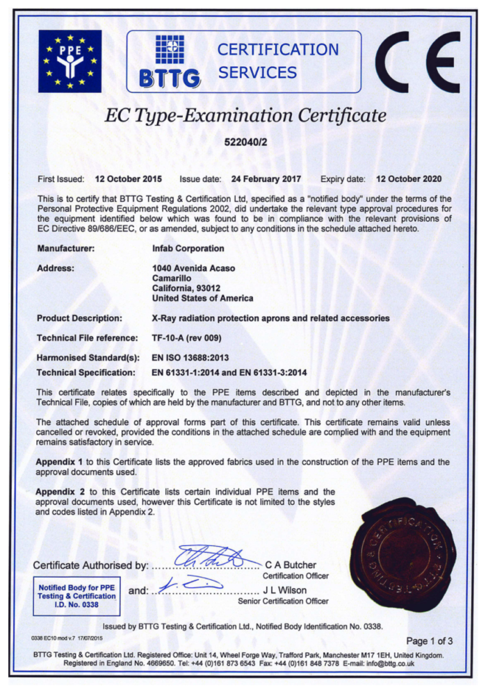 Category iii ce mark infab bttg certification ec type examination certificate 1betcityfo Choice Image