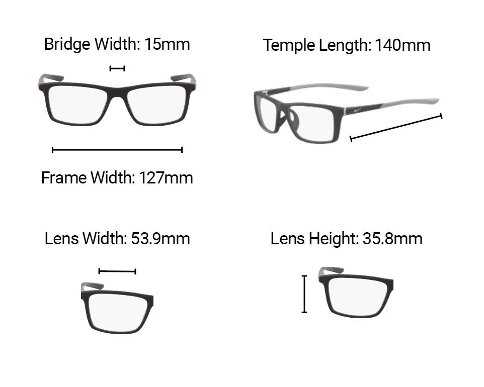 Lead Glasses Nike 7084 Dimensions