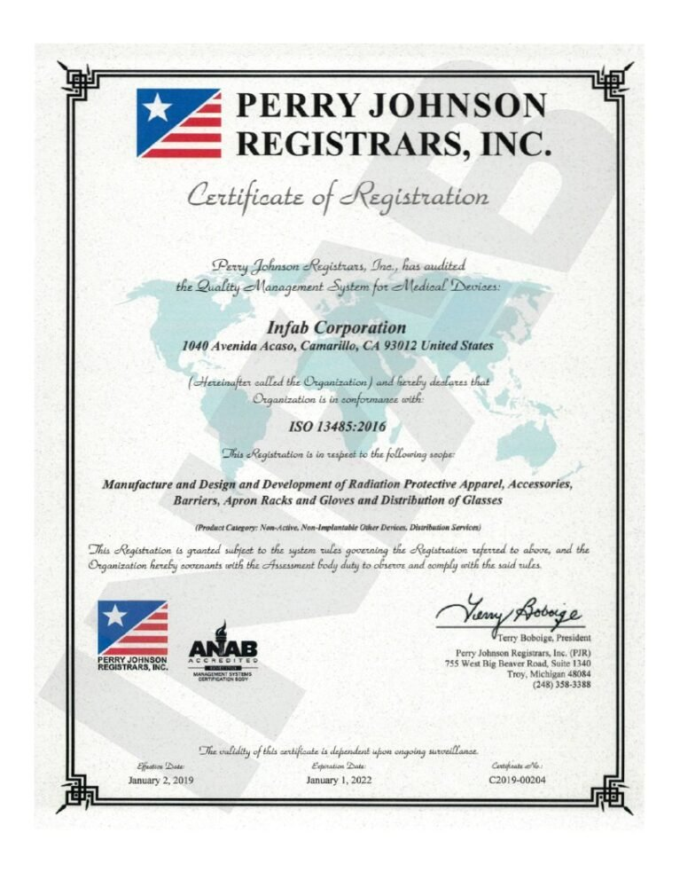iso 13485 2016 infab certificate