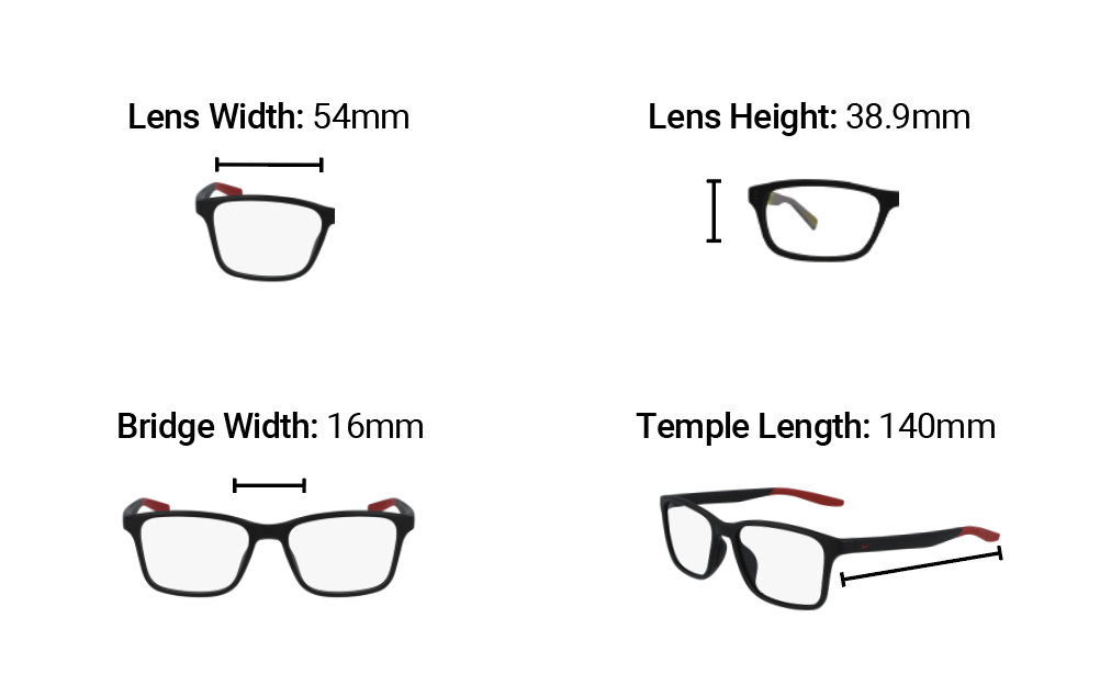 Radiation Glasses NIke 7117 Dimensions
